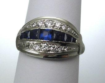 A Vintage Art Deco, White Gold, Blue Sapphire and Diamond Dome Ring, Circa 1940. (A1820)