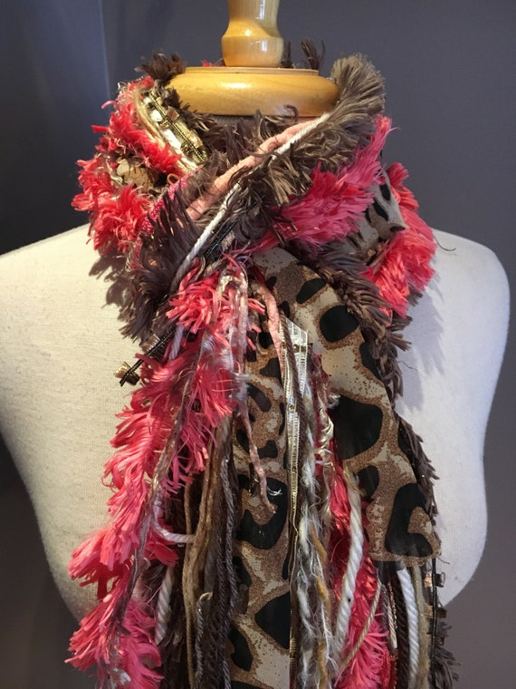 Fringie in Cheetah Girl, Peach Cheetah scarf, handmade fringe scarf with knots, chunky yarn scarf, Funky Scarf, animal print, bright scarves