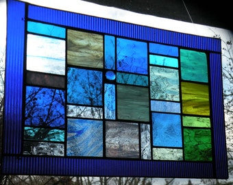 Blue Stained Glass Window Panel