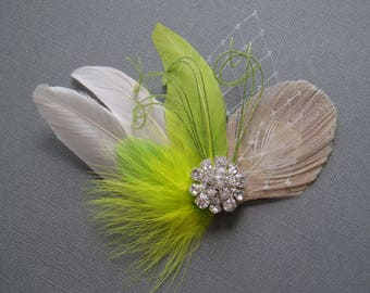 Lime Green Wedding Hair Piece hairpiece Feather Fascinator Bridal Hair Clip Hair Accessories brides comb bridesmaid hairpiece