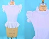 1980s ruffle blouse   high neck sleeveless white cotton blouse   vintage 80s blouse   S