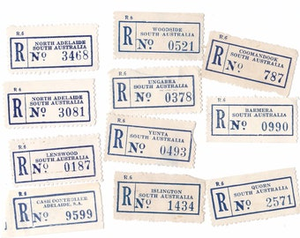 11 x Vintage Australian (SA) South Australia Registered Mail Postage Labels for Crafting or Collecting