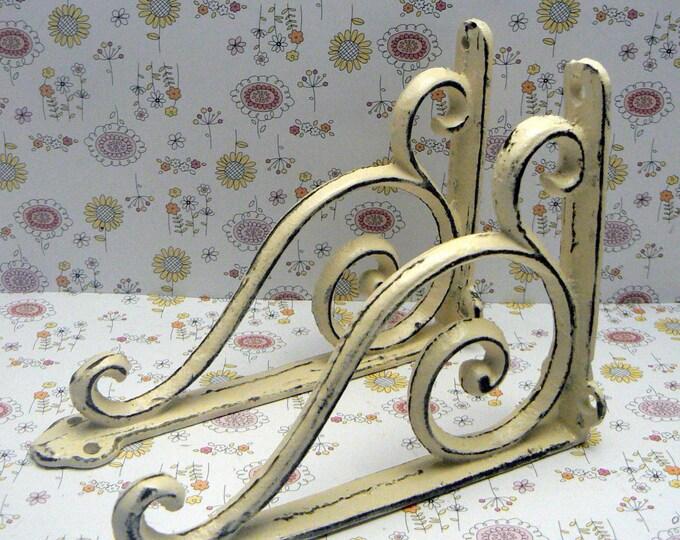Shelf Bracket Cast Iron Corbel Style Brace Shabby Off White Pair DIY Home Improvement