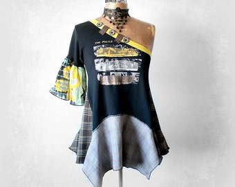 One Sleeve Top Black Boho Shirt Recycled T-Shirt Fit Flare Tunic Bohemian Clothes Eco Conscious Art Clothing The Police Band S M 'DANIELLE'