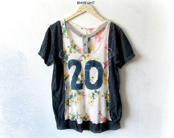 Upcycled Top Hipster Clothing Number Shirt 20 Bohemian Clothes Women's Art Clothing Floral Print Short Sleeves Boho Halter Top S M 'JULIETTA