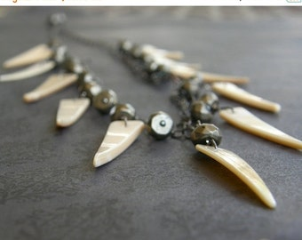20% OFF Shell and Pyrite Tribal Statement Necklace, Tusk Necklace, Cream Fringe Necklace