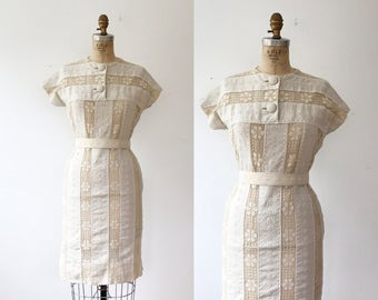 linen and lace dress / vintage lace dress / Artemis Lace dress