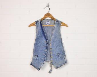 Vintage 80s Acid Wash Denim Vest Acid Wash Jean Vest Jean Jacket Denim Jacket Jean Shirt Denim Top Skinny Vest 90s Grunge Vest Blue S Small