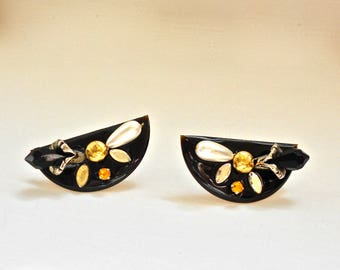 Avante Garde Half Moon Clip On Earrings with jewels, pearls and crystals