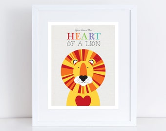 lion print wall art - heart of a lion - nursery artwork for girl or boy, safari jungle, animals for kids rooms, be brave, kids illustrations