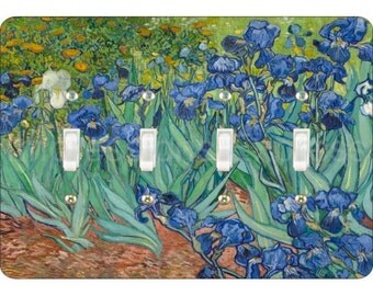 Van Gogh Irises Painting Quadruple Toggle Light Switch Plate Cover