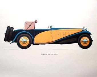 Delage 1933 (D8 SS 100) Car Collector Lithograph Print