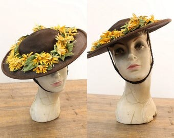 40s Straw Picture Hat / 1940s Daisy Wide Brim Hat / New York Summer Hat
