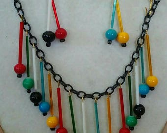 30s 40s Style Carnival Glass Necklace & Earrings