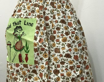 Vintage 50s Half Apron Retro Homemaker on Telephone
