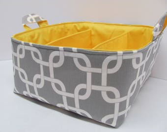 SALE - Fabric Diaper Caddy - Storage Container Basket - Organizer Bin - Tote Bag - Bucket - Baby Gift - Nursery - Geometric Grey - RTS