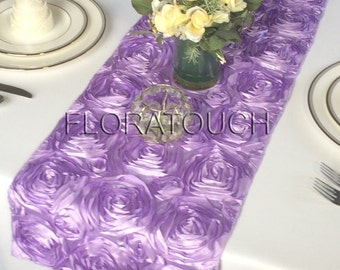Lilac Satin Rosette Wedding Table Runner
