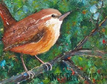 Wren Painting - Contemporary Songbird Fine Art - 12x12 Acrylic on Canvas - Woodland Green - Brown Bird - Colorful Original Small Wall Decor