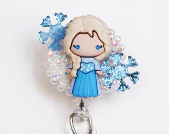 Elsa From Frozen ID Badge Reel - Retractable ID Badge Holder - Zipperedheart