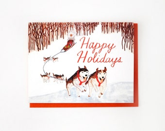 Dog Sled Happy Holidays Card