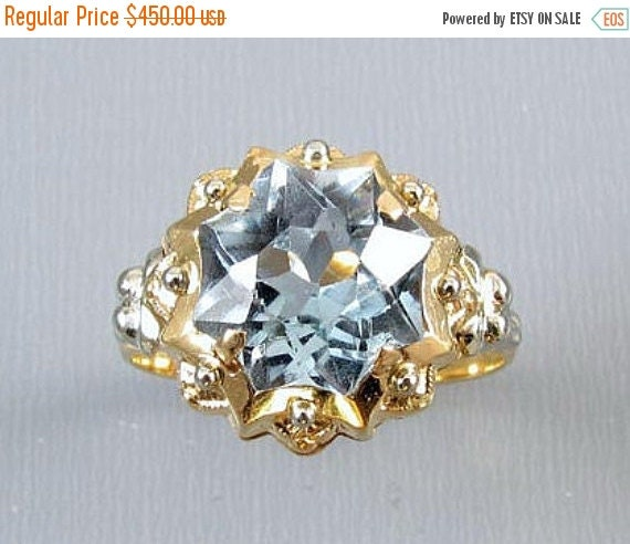Holiday Sale Vintage Retro Moderne European made 18K gold lab created synthetic blue spinel fancy concave star cut ring size 7.5