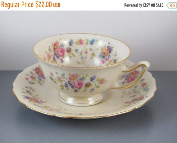 SPRING CLEANING SALE Vintage hand painted Thomas Ivory Germany Us Zone / Bavaria / demitasse cup and saucer / porcelain / china / bone china