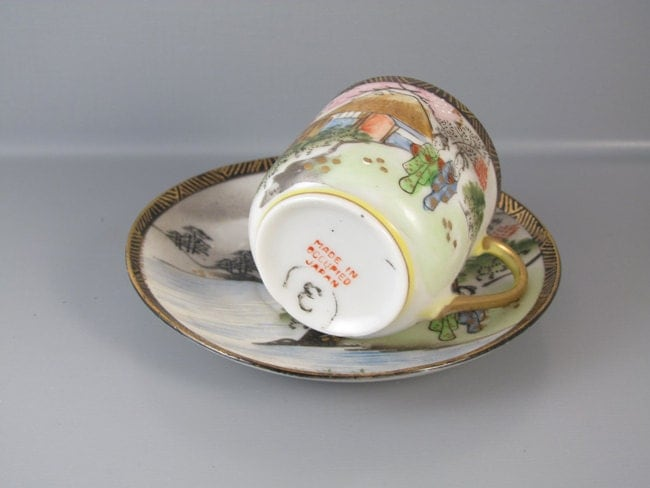 Vintage hand painted Ardalt Occupied Japan demitasse cup and saucer / porcelain / china / bone china / tea / coffee