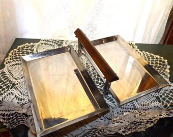 Mid Century  Folding Stainless Tidbit  Trays by Manning Bowman, USA