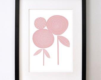 Pink Pom Pom Dahlias -  - Open Edition Giclee Print