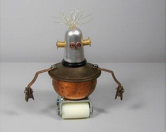RON Found Object  Robot Sculpture Assemblage