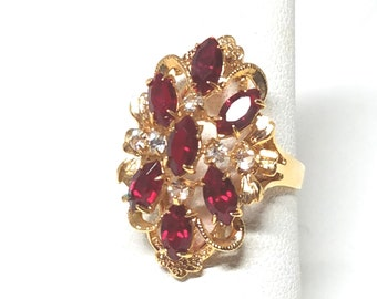 Stunning Vintage Gold tone Ring Red Baguettes and Clear Rhinestones