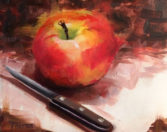 original oil painting canvas panels red art Christmas gift ideas gifts apple