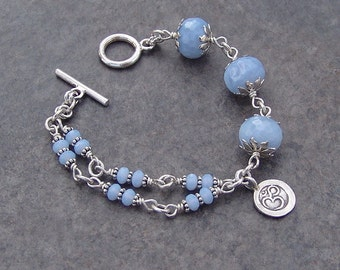 Sterling Silver and Agate Ohm Charm Bracelet