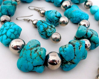 Stunning Turquoise Howlite Necklace And Earring Set (Item W 48)