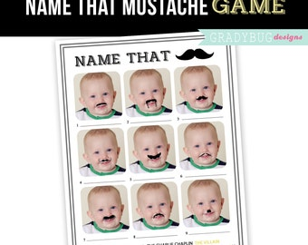 Mustache Party, Mustache Game Printable, Mustache Birthday, One Year Old Birthday, Mustache Birthday Party, Name that Mustache, Little Man