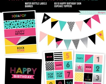 Birthday Printables, Cupcake Toppers, Water Bottle Labels, Birthday Print, Printable Banner, Pop Star, Teen Birthday, Pink, Instant Download