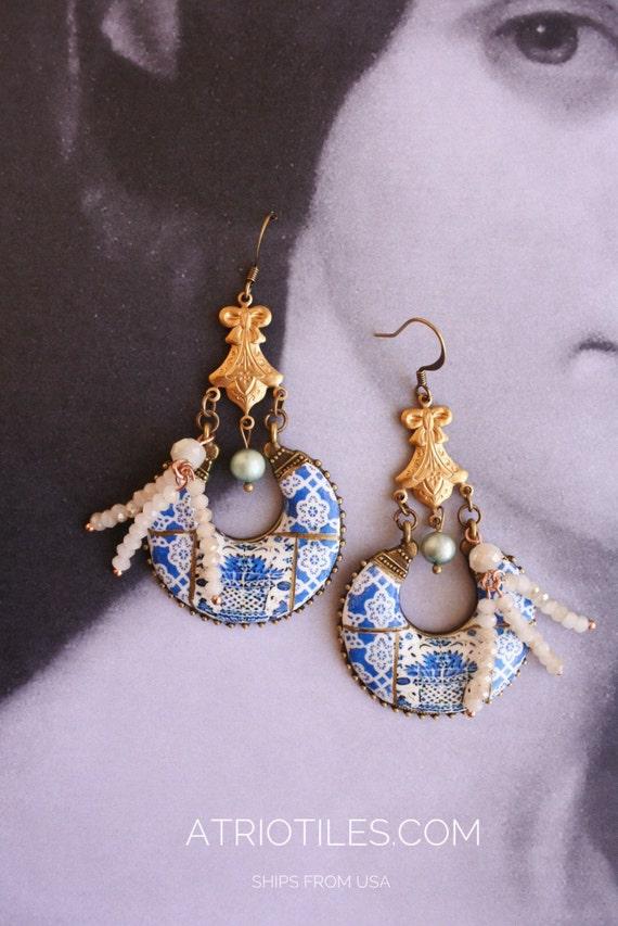 Portugal Antique Azulejo Tile Replica Chandelier Earrings -  Viseu Se Cathedral Tile Mural Eclectic Romantic