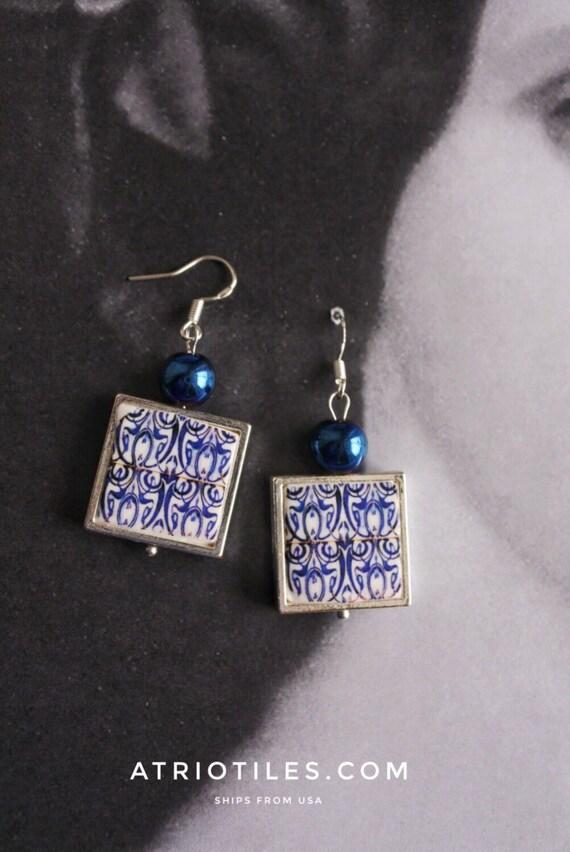SILVER EARRINGS Tile Portugal  Antique Azulejo Replica FRAMED Earrings from Viseu  Art Nouveau Art Deco Gift Boxed 1080