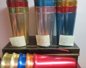 Vintage Lot Of Bascal Aluminum Tumblers  / lot of 4 or 5 / Glasses From Italy / Hostess Wear lot / 12 oz glasses