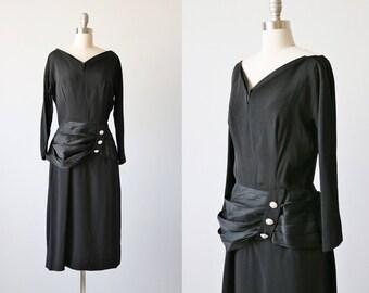 Vintage 1940s Black Cocktail Dress / Little Black Dress / Cocktail Formal Dress / Size Medium