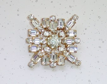 Vintage Glam Art Deco Crystal Rhinestone Brooch, Signed LEDO, 2 Layer Design 1950's