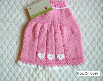Hand Knit Dog Sweater, Handmade Pet Sweater, Size SMALL, Mini Sweater Dress Pink