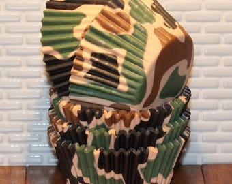 Camouflage  Heavy Duty Cupcake Liners  (Qty 32)  Camo Cupcake Liners, Camo Baking Cups, Cupcake Liners, Baking Cups, Muffin Cups,
