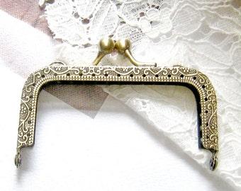 Set of 2 pcs - 3.5 inch, 8.5cm -Antique brass purse frame, vintage style bag frame, small metal frame, clutch frame F3