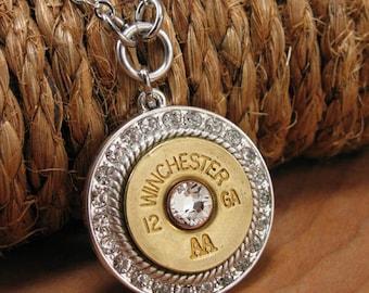 Bullet Jewelry - Shotgun Casing Jewelry  - 12 Gauge Shotgun Casing Round Diamond Encrusted Medallion Necklace - Gunz & Glitz™ Collection