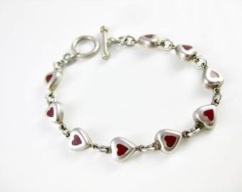 Vintage Sterling Silver Red Heart Bracelet