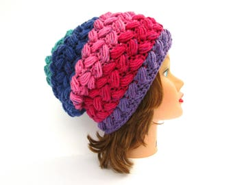 Crochet Hat In Mixed Berry - Slouchy Beanie - Purple Pink Blue Hat - Women's Hat - Puff Stitch Beanie - Crochet Accessories