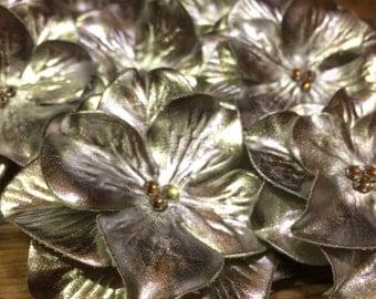 Metallic Silver Hyrangea Hair Clip