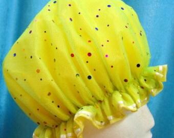 SHOWER CAP Lightweight Waterproof YELLOW Glitter Spots