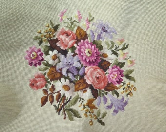 """Finished Needlepoint Canvas with Floral on Beige Wool and Linen 22"""" x 22"""""""